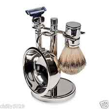 KINGSLEY - Silver Plated SHAVE SET 4 pc. Men's Shaving Set SB-670 New