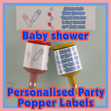 Personalised BABY SHOWER  Party popper LABELS - Self adhesive - Pre-cut x24 !!!