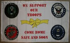 3'x5' We Support Our Troops Flag Patriotic USA Marines Army Air Force Navy 3x5