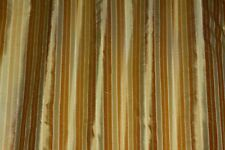 "Gold/Taupe Vertical Stripes 100% Silk Dupioni Shantung, 54"" W, By Yard (SD-631)"