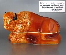 """Authentic French Handmade Faience """"Bison"""" Terrine, Signed Michel Caugant"""