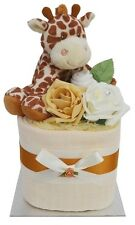 Cute Square Giraffe Themed Mini Nappy Cake/New Baby Gift With Giraffe Rattle!