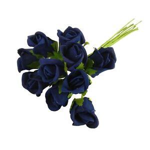 Bunch of 10 Foam Rose Buds - Artificial Wedding Flowers Craft Buttonhole Corsage