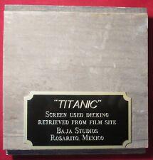 TITANIC MOVIE PROP PIECE OF DECKING WITH PLAQUE