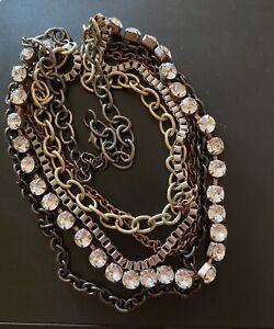 "Rose Gold Black Silver Bronze Cubic Zirconia 20"" Neiman Marcus Necklace 102 Gr"