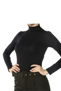 Women`s Ladies 95% Cotton Roll High Neck Polo Turtle Tops Long Sleeve Tops(2216)