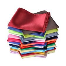26pcs Men Silk Handkerchief Pocket Square Plain Solid Color for Wedding Party
