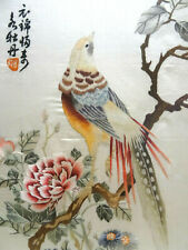 antike chinesische Seidenstickerei, antique fine Chinese Silk on Silk Embroidery