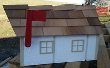 Amish Crafted White (Beige Trim) Barn Style Mailbox - Lancaster County Pa