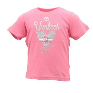 New York Yankees Official MLB Majestic Baby Infant Girls Size Pink T-Shirt New