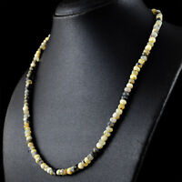 113.50 Cts Natural Single Strand Dendrite Opal Faceted Untreated Beads Necklace