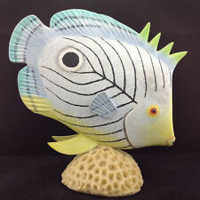 """Vintage Penco Tropical Fish Wood Composition Natural Coral 9.5"""" Long Glass Eyes"""