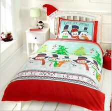 CHILDREN'S CHRISTMAS BEDDING DUVET SINGLE FESTIVE LET IT SNOW