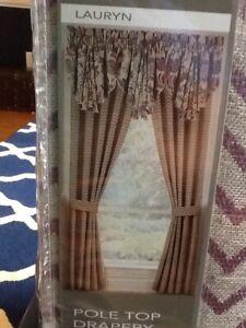 Croscill Lauryn Pole Top Drapes, 2 Panels, 82 X 84, NIP