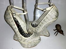 Dollhouse Ritzy Studs Rhinestones Ankle Strap Heelless Curved Wedge Women's 5.5