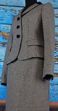 Moschino Skirt Suit Women's Size 6 Suit Jacket Wool Italy Career Hounds Tooth