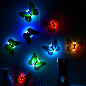 LED Butterfly Night Light Lamp For Kid Bedroom 7 Different X7H5