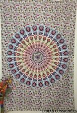 Cotton Pink Color Wall Hanging Handmade Bedding Bedspread Twin Tapestry Bohemian