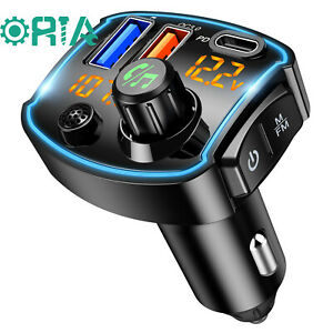 V5.0 Bluetooth FM Transmitter for Car, QC3.0+Type-C PD 18W USB C Fast Charger