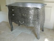Blackened Silver Embossed Metal 3 Drawer Chest wide Cabinets