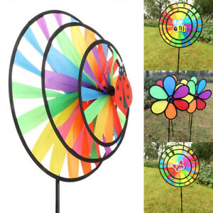 Double Layer Colorful Wheel Windmill Wind Spinner Kids Toys Garden Yard Decor