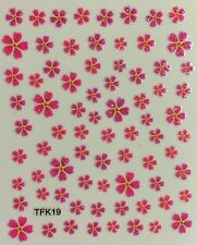 Nail Art 3D Decal Stickers Glittery Pink Flowers TFK19