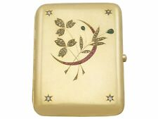 Antique 1.48ct Diamond Ruby &  Emerald Austrian 14ct Yellow Gold Cigarette Case