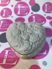 Lenox Heart Trinket Box Ivory Roses W 24K Gold Trim