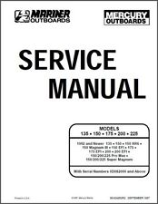 Mercury Mariner 135,150,175,200,225 2 Stroke OEM Service Repair Manual On CD