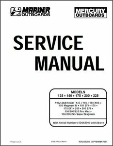 Mercury Mariner 135,150,175,200,225 2 Stroke OEM Service Repair Manual On CD