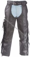 Unisex mens womens leather biker motorcycle chaps with Fringe SIZES 2XS-10XL