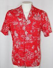 Hawaii Blues Hawaiian Shirt Red Schooner Sail Ship Island Palm Tree Flower Men L