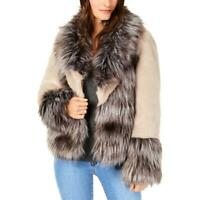INC Womens Mixed-Materials Long Sleeves Daytime Faux Fur Coat Jacket BHFO 0260