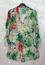 SELECTED TOUCH trendige Damen Bluse grau Flower Print Einheitsgr. 38-42