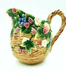 Rare Fitz and Floyd Strawberries & Berries Pitcher NEW  MINT CONDITION