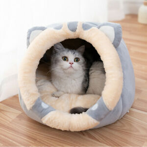 Pet Cat House Bed Cave Kitten Igloo Soft Fleece Puppy Cozy Kitten Dome