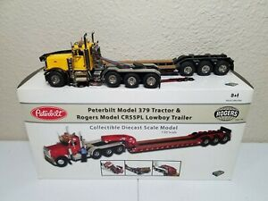 Peterbilt 379 w/ Rogers 3-Axle Lowboy Yellow/Black TWH DHS 1:50 #DHS0100-Y New!