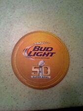 BUD LIGHT BEER COASTERS SUPER BOWL 50 NFL ANHEUSER BUSCH BUDWEISER........