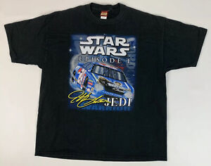 Vtg 1999 Star Wars Episode 1 Jeff Gordan T Shirt Nascar Black Size XL