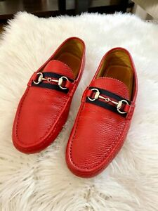 Gucci Red Leather Horsebit Loafers Moccasins Slip On Mens Size EU 42 UK 8 US 8.5