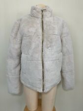 NWT ZARA Cream FAUX FUR JACKET  ZIP SNAP FRONT SIZE LARGE L 8073 033 712