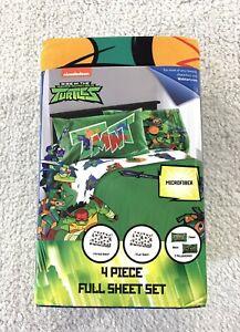 TMNT Teenage Mutant Ninja Turtles FULL Sheet Set 4 Pieces Nickelodeon New