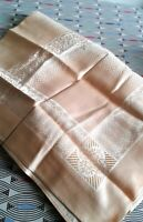 """Vintage Damask Peach Tablecloth New Unused 66"""" x 50"""" approx Excellent Condition"""