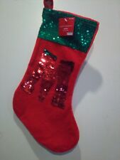 Happy Holidays Red and Green Stocking  With Sequins Letter M