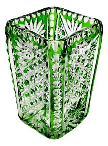 """ANTIQUE Cut-To-Clear Green Glass Vase 6"""" Tall ~ FINE QUALITY ~ UNKNOWN MAKER"""
