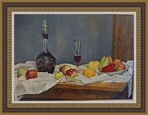 Vintage old European Russian signed original oil realism painting still-life