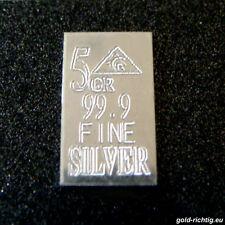 Lingotto ARGENTO 5 GR = 0,324 grammi (Lingotto Argento Metalli Preziosi Regalo di compleanno)