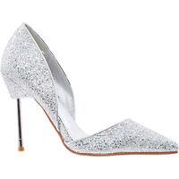 La Bottine Souriante Silver Glitter High Heel Shoes Size UK 4 EU 37 Party Courts
