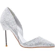 LA BOTTINE SOURIANTE Bond Style Argent Paillettes Chaussures à talon haut Taille 4 37