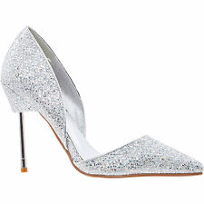 La Bottine Souriante Bond Style Silver Glitter High Heel Court Shoes Size 7 40